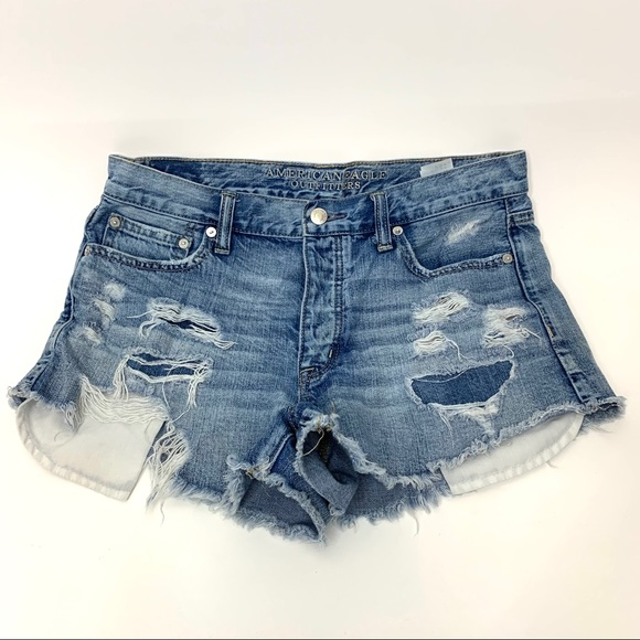 AEO Button Fly Distressed Destroyed Jean Shorts 10